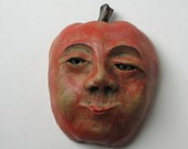Apple ceramic sculpture: Handmade clay sculpture wall art or wall hanging named Apple Arnold