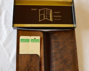 Vintage AMITY MEN'S Pocket Secretary Billfold leather cowhide wallet NEW in box