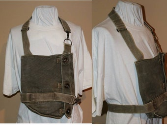 Vintage US Military Green Canvas Bag Originally Used to Hold A Gas Mask