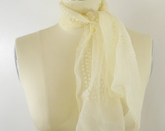Vintage Women's Scarf Off White Sheet with Polka Dots Long Rectangle