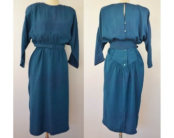 Vintage Teal Dress Totally 80s Button Back Shoulder Pads Made in California by All That Jazz Size 9/10