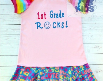 1st grade rocks ....hand silk screened...recycled upcycled repurposed and pieced peplum tunic top size 7/8