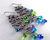 BIGGEST SALE EVER Colorful Quartz, Amethyst and Pyrite Wire Wrapped Oxidized Dangle Cluster Earrings