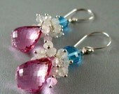 BIGGEST SALE EVER Pink Topaz, Moonstone and Swiss Blue Topaz Sterling Dangle Earrings