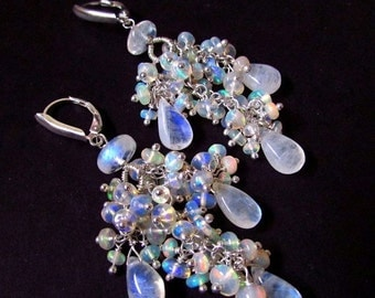 25% Off Summer Sale Moonstone and Ethiopian Welo Opal Cluster Gemstone Earrings