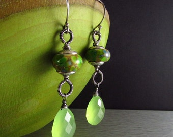 Lampwork and Green Chacedony Wire Wrapped Sterling Silver earrings