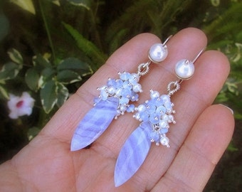 End Of Summer Sale Blue Lace Agate With Pearl and Opalite Sterling Earrings