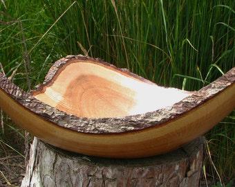 The Oak Triangle: Natural bark edge white oak crotch bowl