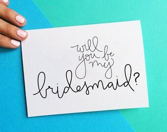 will you be my bridesmaid card bridesmaid gift wedding party DIY summer wedding card black white script bridesmaids gift