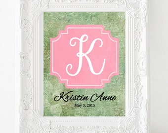 Personalized Baby Print, Nursery Art, Custom Name Print, Kids Room Decor, Child Wall Art, New Mom Gift, Girl Room Decor, Baby Girl Nursery
