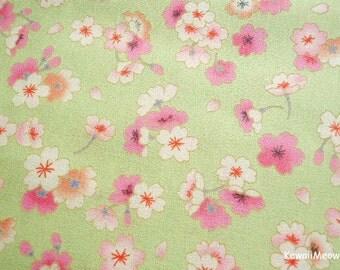 Japanese Kimono Fabric - Sakura on Green - Fat Quarter (ki151221)