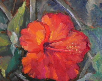 "Red Hibiscus Oil Painting,  Flower Oil Painting, Tropical Flower, 6x8"" Oil"