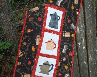 Coffee Pot and Coffee Cup Quilted Wallhanging