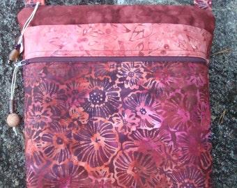 Floral Cross Body Bag Shoulder Purse Russet Red
