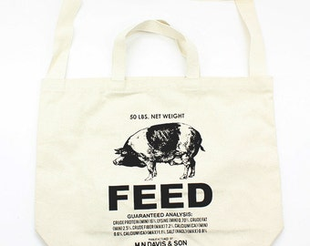 Screen printed canvas tote bag - Pig feed sack