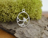 Sterling Silver Round Nightingale Birds Pendant 11x15 mm, Sterling Openwork Solid 925 Silver Connector, FPK1S