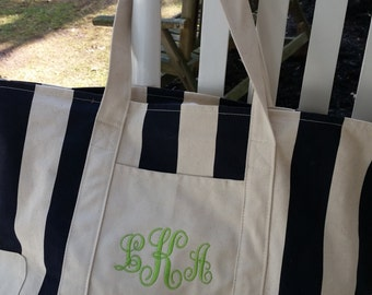Large zippered canvas beach bag tote