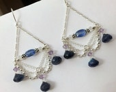 CUPID SALE Bohemian Chandelier Earrings Luxury Gemstone Sterling Silver Chain Earring Wire Wrap Blue Labradorite Kyanite Dangle Luxury Bohem