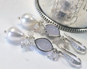Bridal Druzy Earrings White Titanium Druzy Sterling Silver Pearl Dangle Earrings Wedding Earrings Boho Beach Bride Destination Wedding