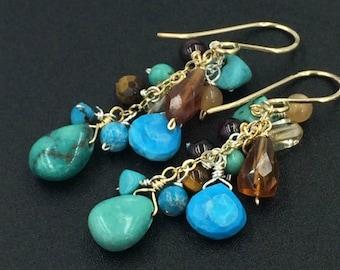 Turquoise Dangle Earrings 14k Gold Fill Wire Wrap Colorful Gemstone Earrings Hessonite Garnet Citrine Turquoise Boho Dangle Earrings