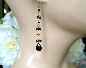 SUMMER SALE Long Black Dangle Earrings, Wire Wrapped Gemstone Earrings, Black Spinel Long Earrings, Minimalist Jewelry, Dainty Black Spinel