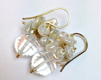 30% SALE Wedding Earrings Clear Rock Crystal Keishi Pearl Cluster Bridal Earrings 14kt Gold Filled Wire Wrapped White Topaz Dangle Earrings