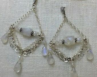 Moonstone Chandelier Earrings Sterling Silver Chain Chandelier Earring Wire Wrap Moonstone Wedding Triple Chain Swag Earring Boho Bride