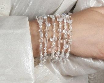 50% OFF SALE White Cuff Bracelet Pearl Moonstone Swarovski Crystal Multistrand White Bracelet Bohemian Handmade Beach Wedding Jewelry