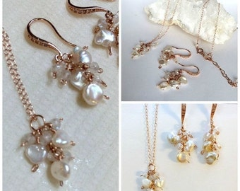 VALENTINES SALE Keishi Pearl Rose Gold Dainty Necklace Earrings Set Delicate Rose Gold Pearl Set Pave Rose Gold Earrings Mystic Quartz Bride