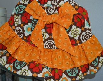 Floral Brown, red and blue/autumn yellow Tiered Ruffle Skirt - 18-24mo