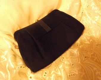 Vintage Black  Satin Ribbon Clutch Purse