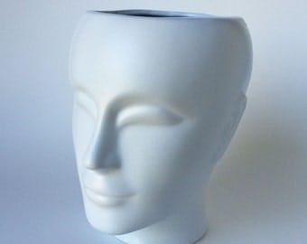 White Head Planter, Painted Face Sculpture, Ceramic Planter