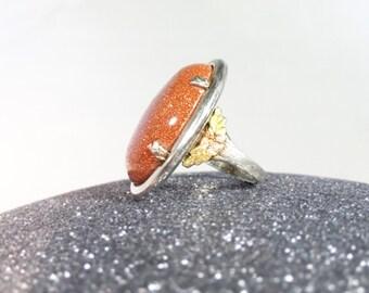 Bold Deco Revival Goldstone Ring