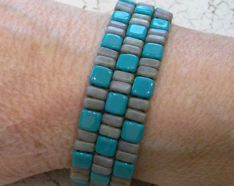 Checkerboard Pattern Turquoise and Gray Beadwoven Checkmate Beaded Cuff Bracelet by Carol Wilson of Je t'adorn