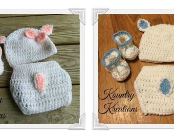 Crochet Lamb Hat/Diaper Cover/Booties/Baby Lamb Set/Crochet Lamb Set/Lamb Set /Hat/Diaper Cover/Booties(Ready to Ship)