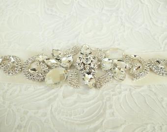 Rhinestone Applique Beaded Bridal Wedding Sash Belt