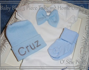 Baby Boy Coming Home Outfit with bow tie and matching hat and socks, monogrammed baby hospital hat, Baby boy shower Gift, Newborn Hat