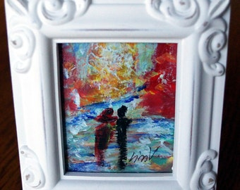 Romance ACEO Original Painting with Frame Gift for Couple, Gift for Her, Holiday Gift of Art