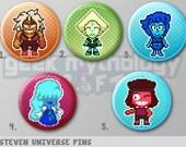 "Steven Universe Pins or Magnets 1.5""- Jasper, Peridot, Lapis Lazuli, Sapphire and Ruby Pixel Art"