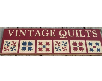 Vintage Quilts primitive wood sign