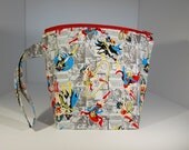 SALE - Mini zip - Lined Project Bag - 100% Cotton