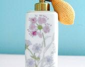 Vintage Atomizer - Perfume Bottle - Irice - White Floral - Vanity Decor - Perfume Spray - Boudoir Accent -Collectable - I W Rice Co - Japan