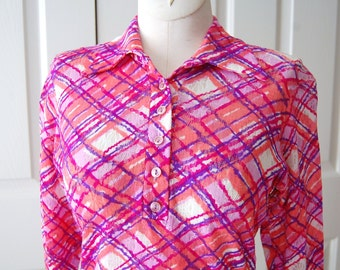 1970s - Hipster - Hippie - Vintage Top - Alice Stuart - 70s Fashion - In Style - Stretch - Vintage Clothing - Womens Shirt - Size Med.