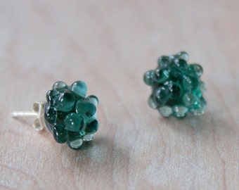 Glass Cluster Dot Earrings - Emerald