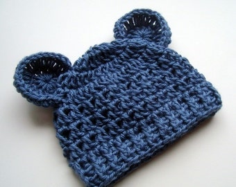 ON SALE Crochet Baby Hat, Baby Boy Hat, Infant Hat, Newborn Crochet Hat, Baby Winter Hat, Newborn Winter Hat, Baby Hat, Country Blue, MADE T