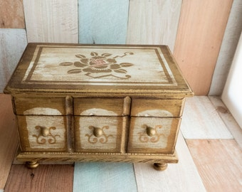 Vintage Ornate Musical Jewelry Box