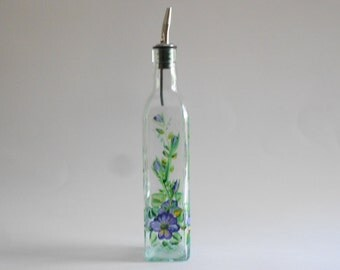 Purple Pansies Olive Oil Bottle Olive Oil Jar Olive Oil Dispenser Vinegar Bottle Pansy Kitchen Green Glass Tall Size Pansies Kitchen