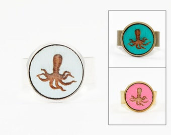 Octopus Ring - Laser Cut Wood in Adjustable Setting (Choose Your Color / Made To Order)
