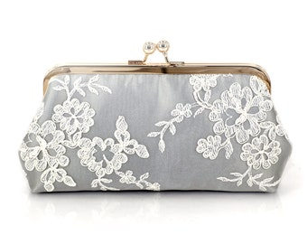 Alencon Lace Bridesmaids Clutch in Silvery Grey | Bridesmaids Gift | Wedding Gift