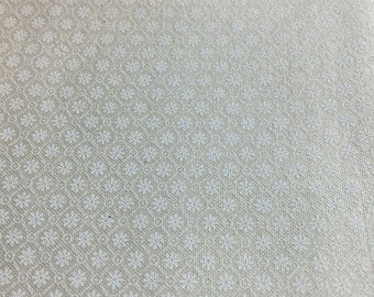 White on white flower diamonds fabric, eggshell or light cream background cotton print. quilting, sewing,  Half-yard